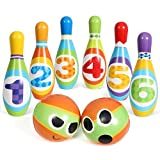 SGILE Bowling Set Skittles Toys For Kids - Soft PU, Indoor Outdoor Garden Lawn Party Sports Game Toy, Funny Gifts Early Development for Preschool Children Toddlers Boys Girls (6 Pins & 2 Bowling Balls)