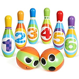 SGILE Bowling Play Set for Kids Boys Girls, Bowling Ball Game Indoor Outdoor Sports Toy for Birthday Present Gift, 6 Pins and 2 Balls
