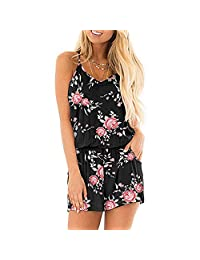 INIBUD Summer Romper for Women Loose V Neck Spaghetti Strap Short Jumpsuit Rompers with Pockets