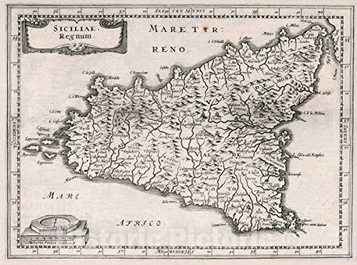 Historic Pictoric Map : Italy, Sicily (Italy) Siciliae Regnum, 1636 Atlas, Antique Vintage Reproduction : 60in x 44in
