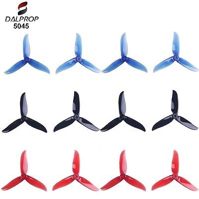 12pcs 5045 hélices de 3 láminas 5 Pulgadas Tri Blade Props para 2204 2205 2206-2306 Motores sin escobillas FPV Racing Drone Quadcopter (Transparente-Rojo, Negro, Azul-Transparente): Juguetes y juegos