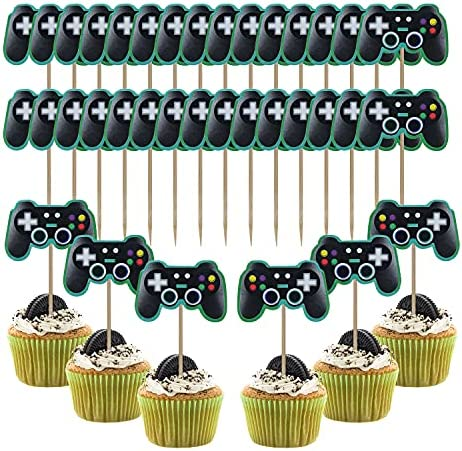 Video Game Cupcake Topper, 36 Pcs Gamer Cake Topper Decoration, Video Game Controllers Cupcake Toppers UIInosoo for Birthday Party, Gaming Themed Party Celebration