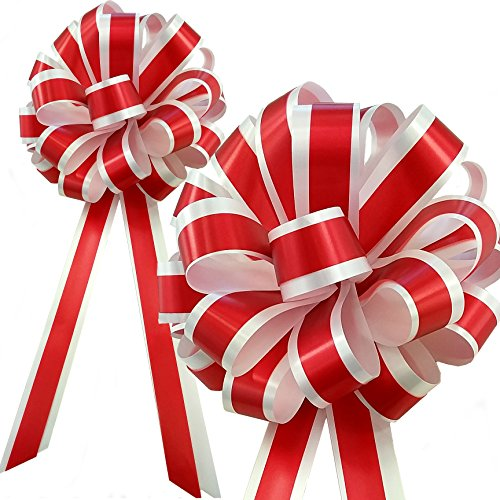White Wedding Pew Bows - Red & White Striped Wedding Pull Bows with Tails for Church Pews and Chairs - 8
