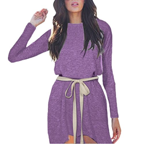 FANOUD Women Autumn Winter Long Sleeve O Neck Bandage Irregular Evening Party Dress (XL, Purple) by FANOUD