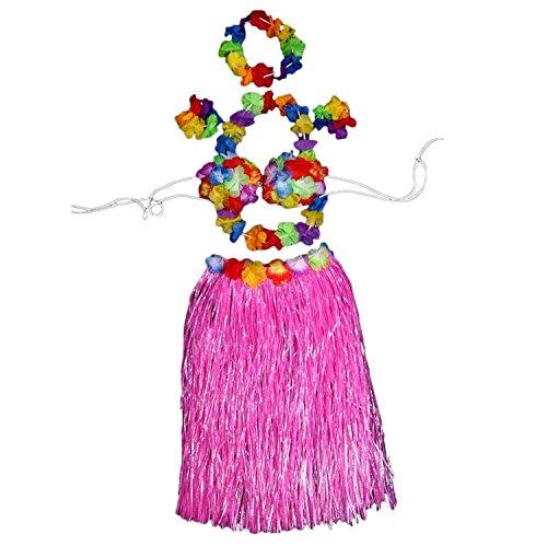 Adult Luau Elastic Hawaiian Hula Dancer Grass Skirt with Flower Costume Set (Pink) (Hula Dancer Costume)