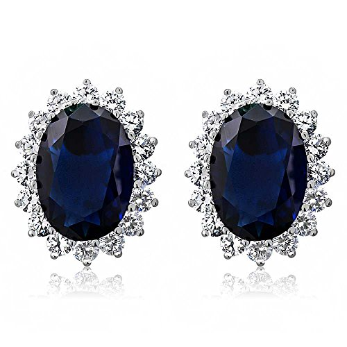 Gem Stone King 15.00 Ct Oval Blue Simulated Sapphire and Zirconia 925 Sterling Silver Earrings