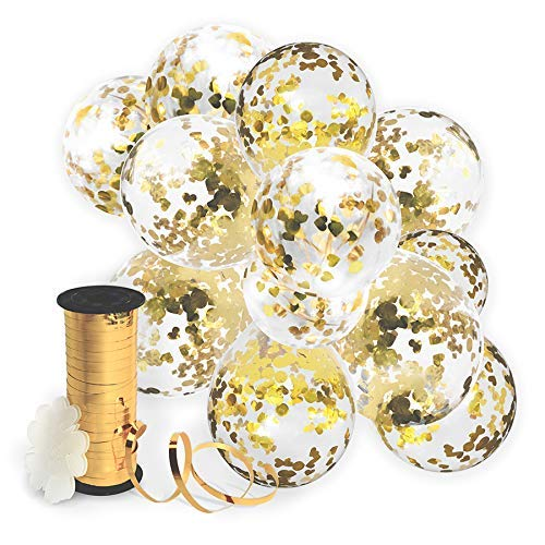 Decopom Gold Confetti Balloons Curling Ribbon - Roll & Flower Clips 32 Pack | Premium 12 Inch Latex Party Balloons - Filled Round Golden Mylar Foil Dot Confetti Birthday, Wedding, Proposal ()