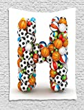 THndjsh Letter H Tapestry, Letter H Stacked from Gaming Balls Alphabet of Sports Theme Competition Activity, Wall Hanging for Bedroom Living Room Dorm, 60 W X 80 L Inches, Multicolor