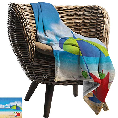 Weighted blanket for kids,Beach,Relaxing Scene with Umbrella and Drinks Open Skyline Holiday Destination Summer Time, Multicolor,Weighted Blanket for Adults Kids, Better Deeper Sleep -