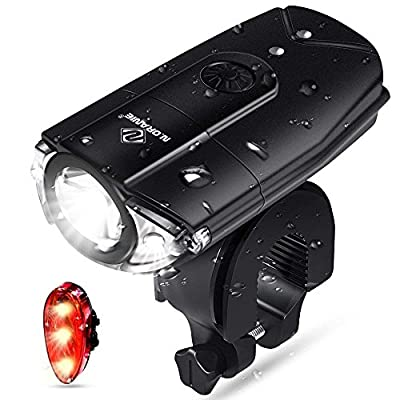 N N.ORANIE Bike Lights USB Rechargeable Light Set, Bicycle Headlight Front Light Free Rear Back Tail Light, IP 65 Waterproof, 700 Lumens Super Bright