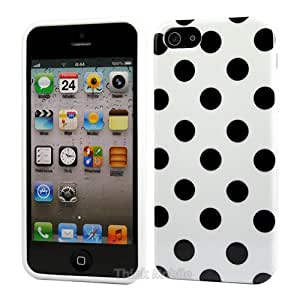 Apple iPhone 5 / 5s Caso Elegante - Blanco Polka Dots TPU Gel Funda Case Para Apple iPhone 5 5s - thinkmobile