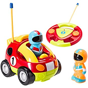 Cartoon R/C Race Car Radio Control Toys for Kids with 2 Removable Race Car Driver Figures