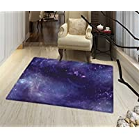 Eggplant Non Slip Rugs Sky with the Open Space Star Constellations and Gloomy Atmosphere Heavenly Bodies Indoor/Outdoor Area Rug 32x48 Indigo