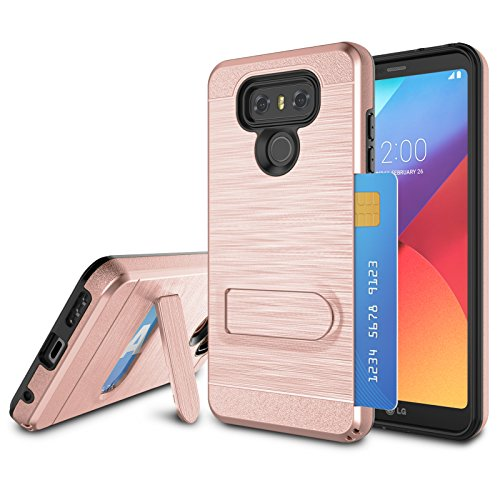 LG G6 Case, LG G6 Card Slots Holder, Jeylly [Metal Satin] Wallet Card Holder with Kickstand Hard Plastic + Soft TPU Drop Protection Hybrid Case Cover for LG G6 VS988/LS993 - Rose Gold