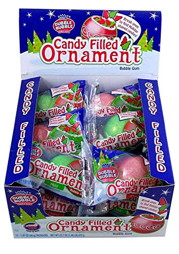 Dubble Bubble Red and Green Candy Filled Giant Gumball Ornaments, Case of 12
