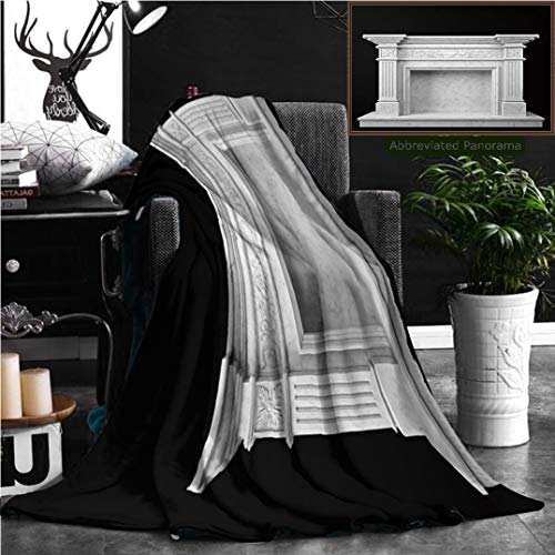 "Unique Custom Flannel Blankets Fireplace Made Of Natural Marble On A Dark Background D Render Super Soft Blanketry for Bed Couch, Twin Size 70"" x 60"" by Nalagoo"