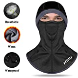 ANSOWQM Balaclava Face Mask, Ski Mask for Men & Women, Winter Cold Weather Hood Windproof with Warm Thickened Thermal Fleece Lining for Skiing, Cycling, Motorcycling, Snowboarding - Black