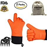 Image of TAIDAF 1981 Heat Resistant Barbecue Insulated Silicone Oven Mitts,Long Sleeve Orange Heated BBQ Gloves for Grill,Smoking,Cooking- with 2 x Pork & Meat Claws