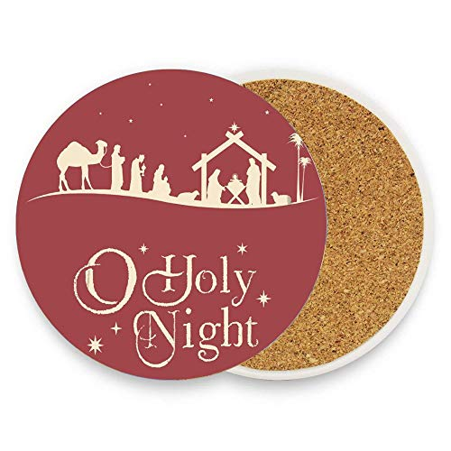 Holy Christmas Nativity Scene Silhouette Family Manger Baby Religious Coaster for Drinks Absorbent Stone Coaster, Cups Holder Coffee Mug Cup Mat Pack Of 1]()