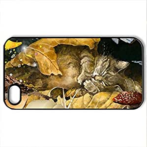 Autumn Dreams - Case Cover for iPhone 4 and 4s (Cats Series, Watercolor style, Black)
