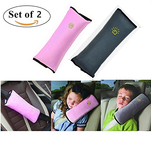 Seatbelt Pillow,Car Seat Belt Covers for Kids,Adjust Vehicle Shoulder Pads,Safety Belt Protector Cushion,Plush Soft Auto Seat Belt Strap Cover Headrest Neck Support for Children Baby Adult(Gray + Pink