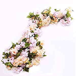 Li Hua Cat Rose Garland Artificial Rose Vine with Green Leaves 63 Inch Pack of 3 Flower Garland For Home Wedding Decoration (yh-champagne) 7