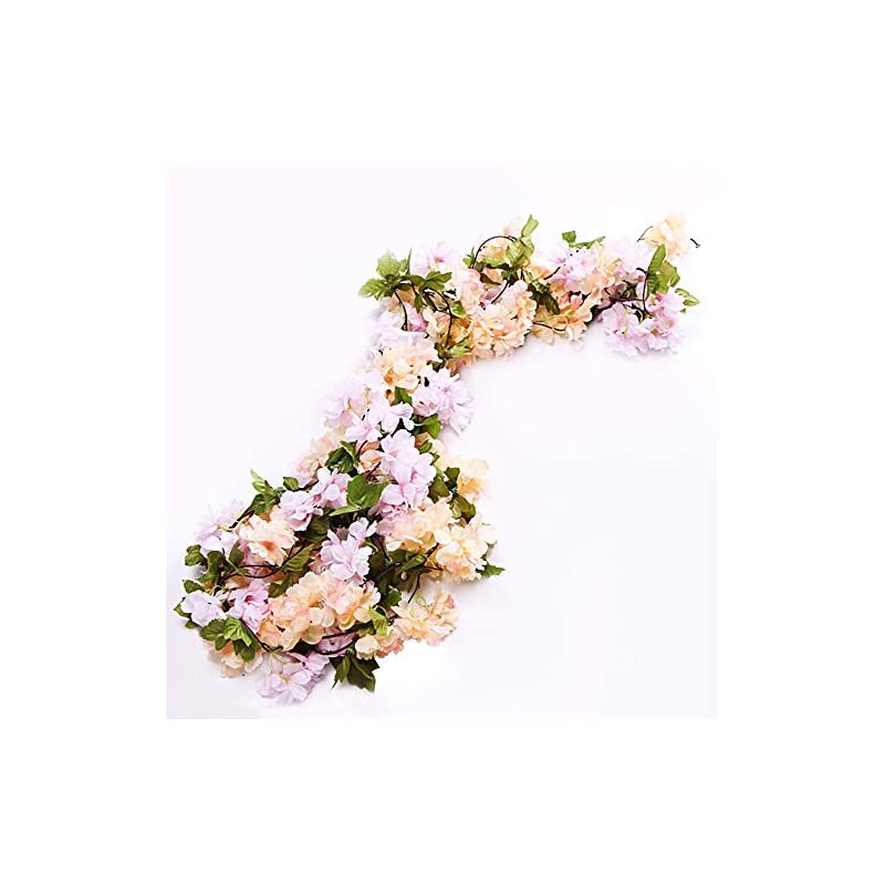 silk flower arrangements li hua cat rose garland artificial rose vine with green leaves 63 inch pack of 3 flower garland for home wedding decoration (yh-champagne)