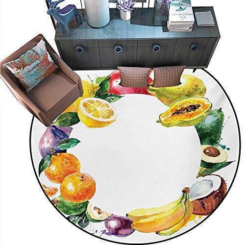 Fruit Non-Slip Round Rugs Nature Food Banana Lemon Avocado Orange Coconut Fresh Agriculture Art Print Living Dinning Room Bedroom Rugs (67