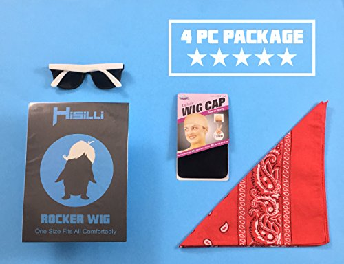 4 pc. 80s Rocker Wig + Bandana + Sunglasses