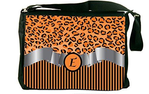 """Rikki Knight Letter """"E"""" Orange Leopard Print Stripes Mono..."""