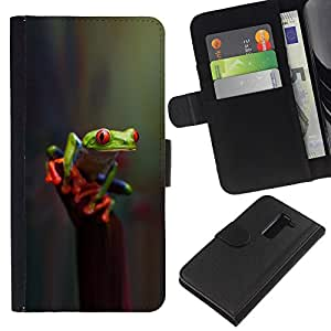 All Phone Most Case / Oferta Especial Cáscara Funda de cuero Monedero Cubierta de proteccion Caso / Wallet Case for LG G2 D800 // Reflective Green Poison Nature