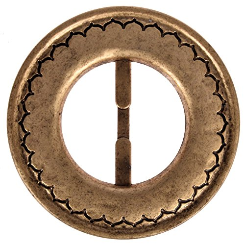 Mibo ABS Metal Plated Buckle Round Shape with Moroccan Design Pattern 30mm Inside Bar Matt Antique -