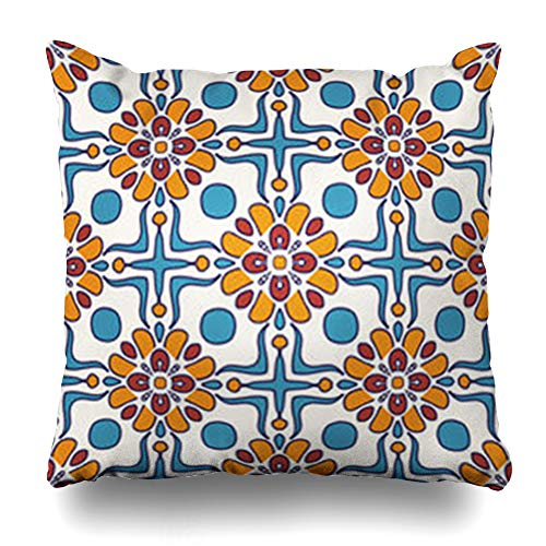 (GisRuRu Throw Pillow Covers Pattern Blue Arabesque Colored Portuguese Tiles Azulejo Moroccan Abstract Home Decor Sofa Pillowcase Square Size 20 x 20 Inches Cushion Cases )