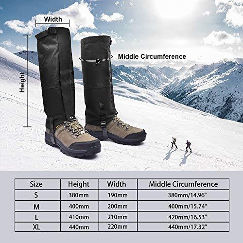 Leanking Leg Gaiters, Waterproof Snow Boot Gaiters 600D Anti-Tear Oxford Fabric Outdoor Waterproof Snow Leg Gaiters for Outdoor Hiking Walking Hunting Climbing Mountain (Black, M)