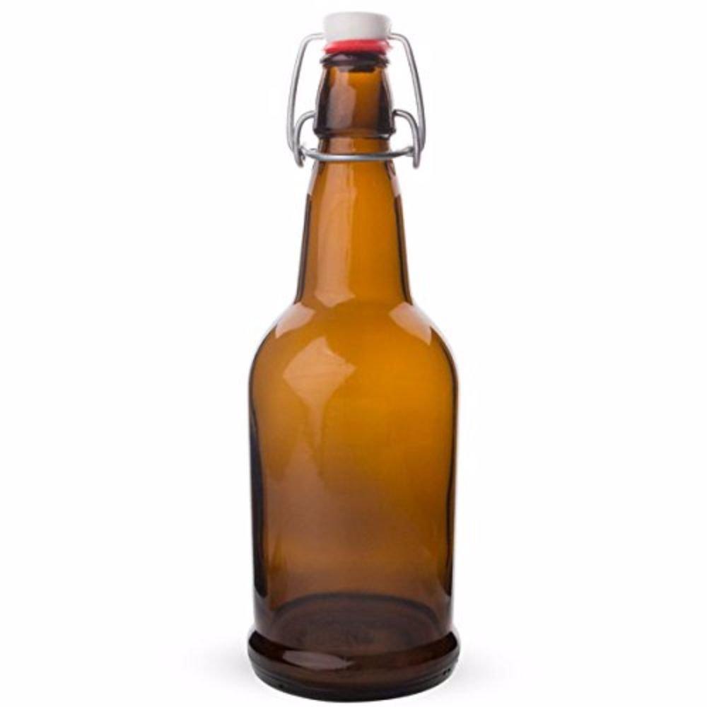 EZ Cap Bottles, Amber, 1 Litre - Case/12 Brewcraft KC FP-1000ASTB