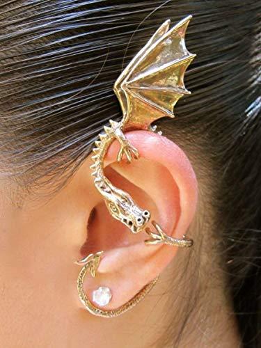 (Dragon Ear Wrap Bronze Dragon Ear Cuff Elfin Dragon Ear Wrap Dragon Jewelry Game of Thrones Inspired Jewelry Khalessi Costume Non-Pierced Earring Dragon Jewelry)