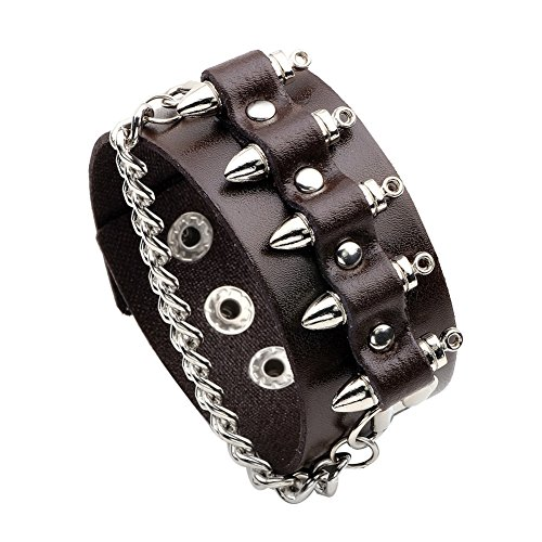 Black Leather Cuff Bracelet Wristband Bullet Design with Skull Head Style (style 2 - Brown) (Black Skull Wristband)