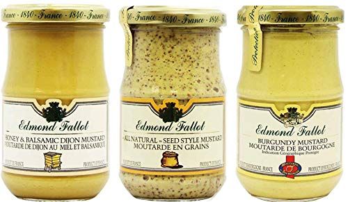 (Edmond Fallot Mustard 3 Pack Assortment of Three Popular Flavors, Honey Balsamic, All Natural Seed Style and Burgundy (7 Ounce Bottle of Each))