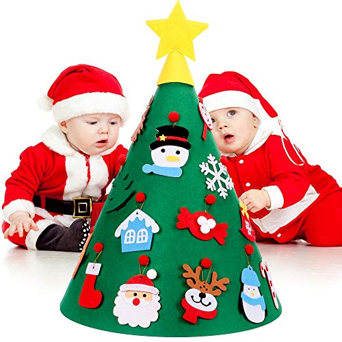 KISPTMIN 3D DIY Felt Christmas Tree for Kids - 18PCS Xmas Detachable Hanging Ornaments - Upgraded Toddler Christmas Tree Xmas Gifts New Year Decorations (3D Christmas Tree)