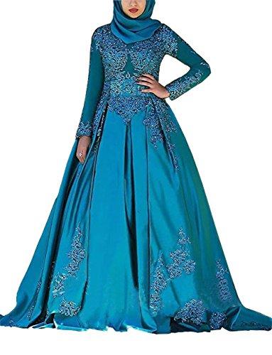 Dreammade Women\'s Muslim Long Sleeve Blue Wedding Dress Applique ...