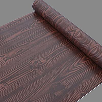 SimpleLife4U Chocolate Wood Grain Wallpaper Roll Removable Wall Decor Sticker 17.7 Inch by 32.8 Feet