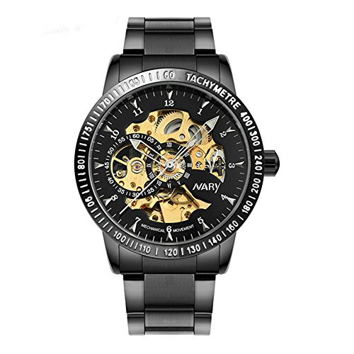 Gest Men's Watches Steampunk Automatic Watch Skeleton Mechanical Stainless Steel Wristwatch for Men