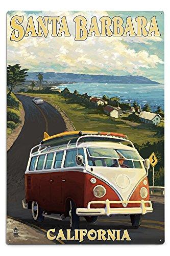 Santa Barbara, California - Camper Van Scene (12x18 Aluminum Wall Sign, Wall Decor Ready to Hang)