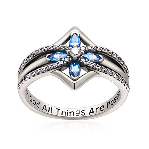 YFN Cross Ring Vintage Tone Sterling Silver with God All Things are Possible CZ Band Rings Size 6.5 (Cross Ring) (Cross Silver Ring Sterling)