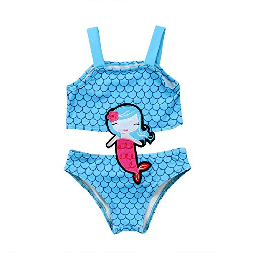 Toddler Girls Mermaid Sequined Swimsuit,Strap Tank Vest+Fish Scale Net Bottoms Shorts 2 Pcs Sun-wear Bikini Bathing Suit (White, 6-12M)