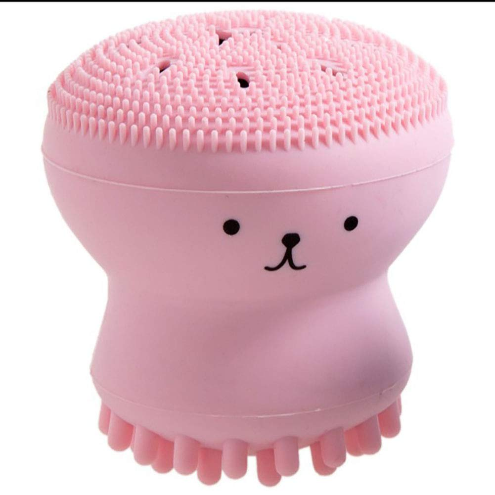 Facial Cleansing Brush Cute Make Up Brushes with Small Silicone Octopus Design for Women Pink 1PC ZhengNongShangMao