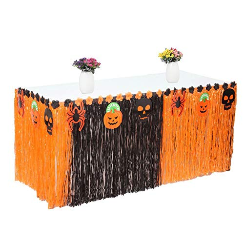 Naisidier 9ft Table Skirt, Halloween Luau Grass Table Table Skirt Decoration Table Skirting for Halloween Party, Meeting, Events and Home Decor]()