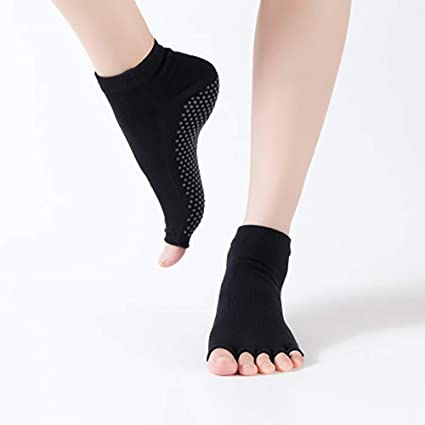 KINJOHI Mujer Calcetines Antideslizantes Pilates Barre Grips Ballet Yoga Pilates Barre Toe Calcetines