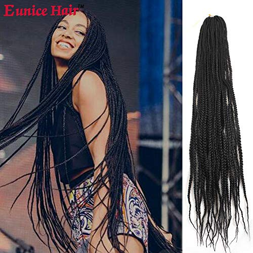 Eunice 6 Packs 30 Inch Long Box Braid Style Crochet Hair 22 Roots/Pack Synthetic Hair Crochet Braid 3S Small Box Braids (#1B)
