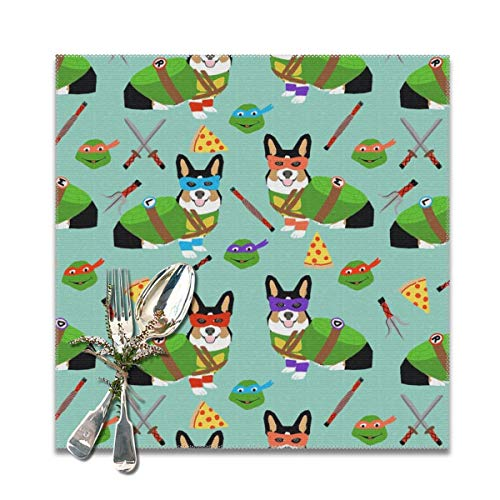 shirt home Placemats for Dining Table,tri Corgi Ninja Turtle Dog Dogs Cartoon Costume Halloween Non-Slip Insulation Placemat Washable PVC Polyester for Kitchen Banquet Party,Set of 6, 12x12 -
